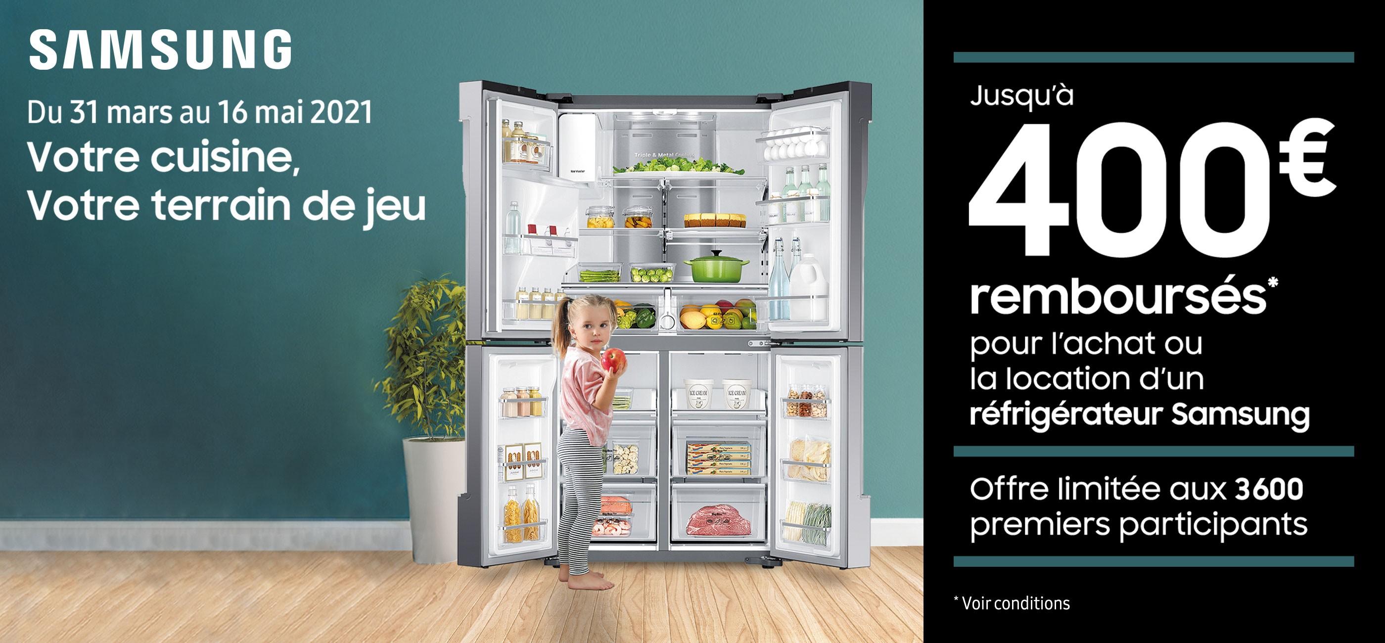 Samsung 400 euros remboursés sur une sélection de réfrigérateurs